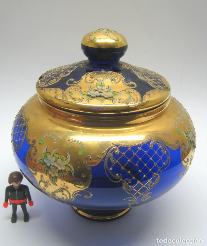 Antigüedades: Impresionante ponchera bombonera en cristal cobalto y oro - Foto 2 - 190772785