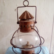 Antigüedades: FAROL DE COBRE Y CRISTAL . Lote 190775710
