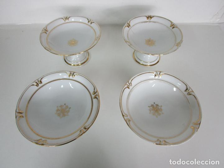Antigüedades: Decorativo Juego de Fruteras Isabelinas - Frutera Porcelana Dorada - Altura 14 cm - S. XIX - Foto 3 - 190817563