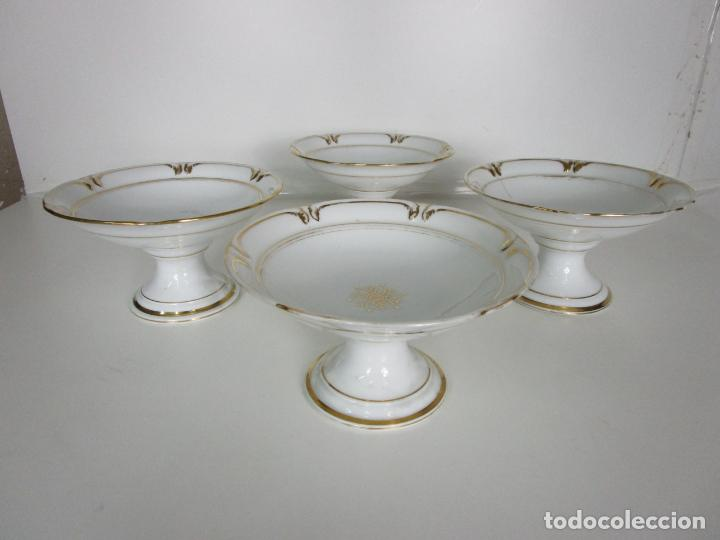 Antigüedades: Decorativo Juego de Fruteras Isabelinas - Frutera Porcelana Dorada - Altura 14 cm - S. XIX - Foto 5 - 190817563