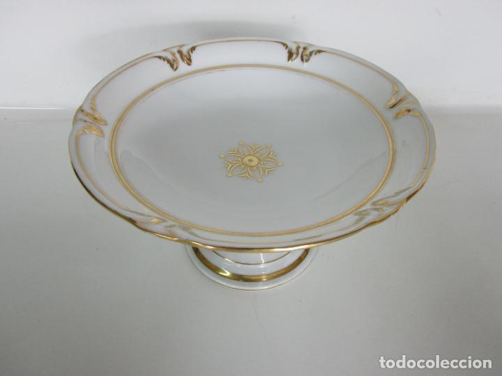 Antigüedades: Decorativo Juego de Fruteras Isabelinas - Frutera Porcelana Dorada - Altura 14 cm - S. XIX - Foto 7 - 190817563