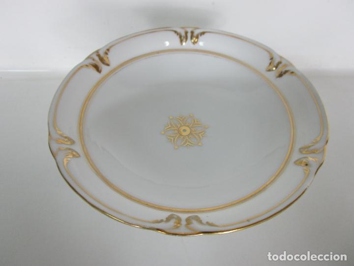 Antigüedades: Decorativo Juego de Fruteras Isabelinas - Frutera Porcelana Dorada - Altura 14 cm - S. XIX - Foto 9 - 190817563