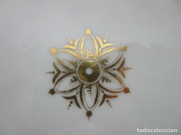 Antigüedades: Decorativo Juego de Fruteras Isabelinas - Frutera Porcelana Dorada - Altura 14 cm - S. XIX - Foto 10 - 190817563