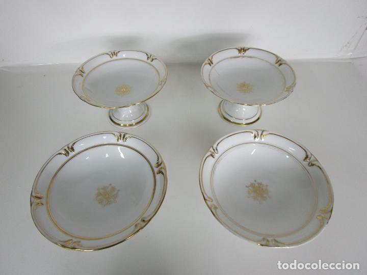 Antigüedades: Decorativo Juego de Fruteras Isabelinas - Frutera Porcelana Dorada - Altura 14 cm - S. XIX - Foto 12 - 190817563