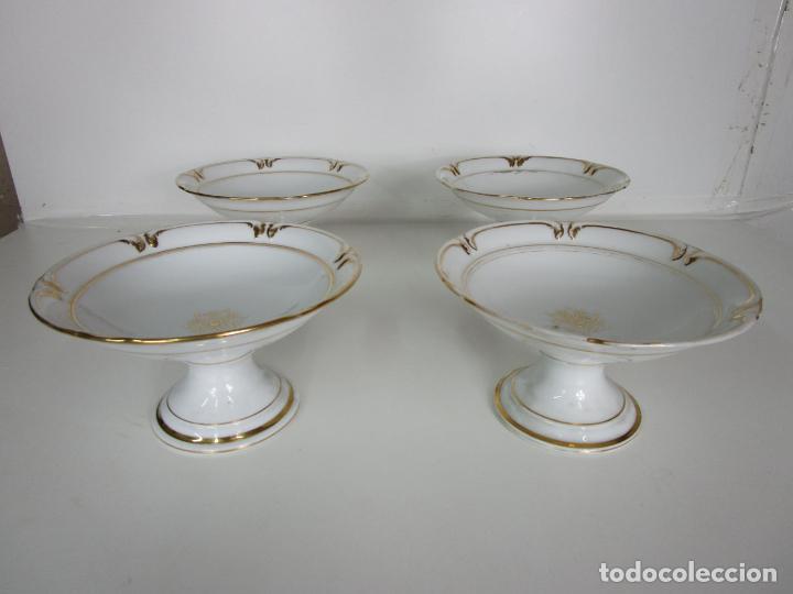 Antigüedades: Decorativo Juego de Fruteras Isabelinas - Frutera Porcelana Dorada - Altura 14 cm - S. XIX - Foto 13 - 190817563