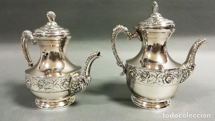 Antigüedades: JUEGO DE CAFE PLATEADO 5 PIEZAS CON BAÑO DE PLATA - Foto 4 - 190822735