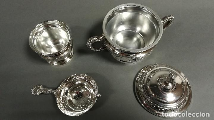 Antigüedades: JUEGO DE CAFE PLATEADO 5 PIEZAS CON BAÑO DE PLATA - Foto 7 - 190822735