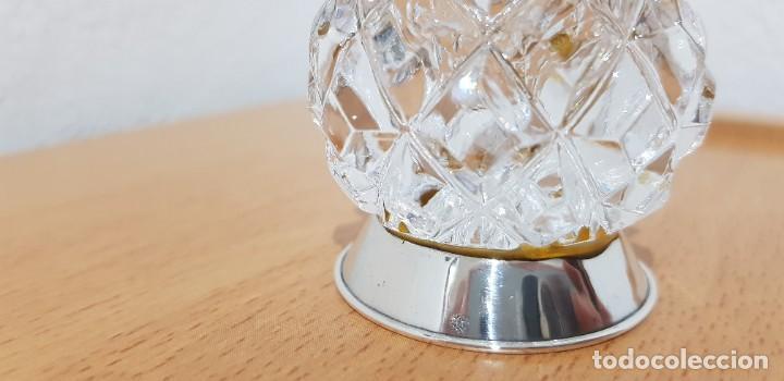 Antigüedades: Palillero en cristal tallado y base de plata, contrastada, años 70 - Foto 2 - 190823036