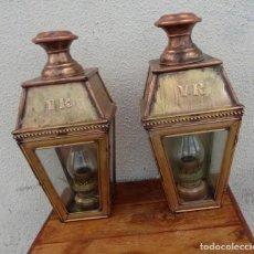 Antigüedades: PAREJA DE FAROLES DE LATON Y COBRE. Lote 190823916