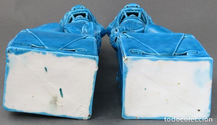 Antigüedades: Pareja Furias Foo en cerámica vidriada azul China siglo XX - Foto 4 - 190825156