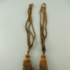 Antigüedades: PRECIOSA PAREJA DE CORDONES PARA CORTINAS CON BORLAS, SUJETA CORTINAS.. Lote 190828451