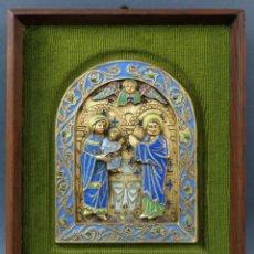 Antigüedades: SAGRADA FAMILIA DE ESTILO ROMÁNICO EN BRONCE ESMALTADO AL FUEGO MODEST MORATO SIGLO XX. Lote 241048690