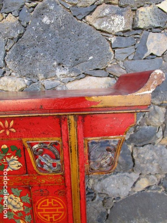 Antigüedades: Curiosa Mesa Aparador - Mueble Chino - Madera Pintada a Mano - Foto 12 - 190834975