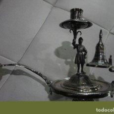Antigüedades: PORTAVELAS DE PLATA DE LEY. Lote 190854998