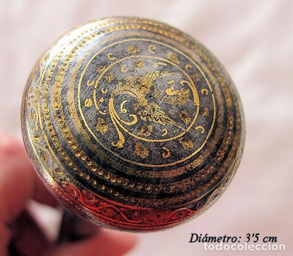 PUÑO DE BASTON ANTIGUO DAMASQUINADO DE TOLEDO (Antigüedades - Moda - Bastones Antiguos)