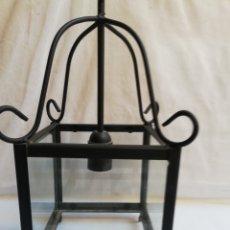 Antigüedades: FAROL DE HIERRO Y CRISTAL. LAMPARA DE TECHO.. Lote 190861440