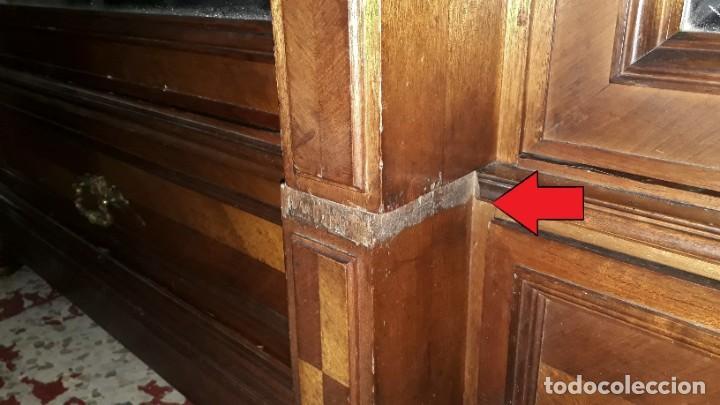 Antigüedades: Armario antiguo estilo alfonsino. Gran armario ropero antiguo con espejo estilo isabelino grande. - Foto 16 - 190868583