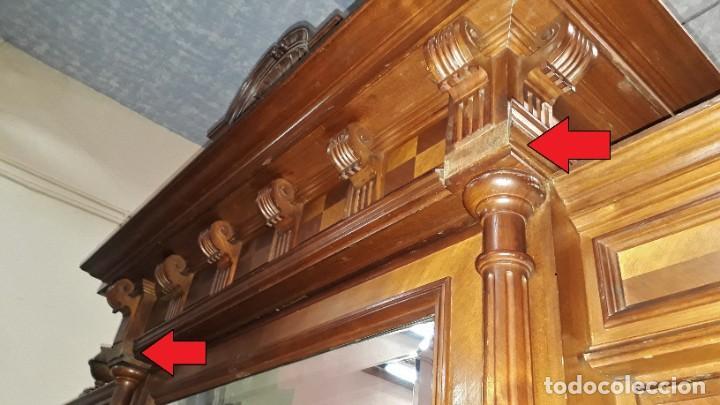 Antigüedades: Armario antiguo estilo alfonsino. Gran armario ropero antiguo con espejo estilo isabelino grande. - Foto 17 - 190868583
