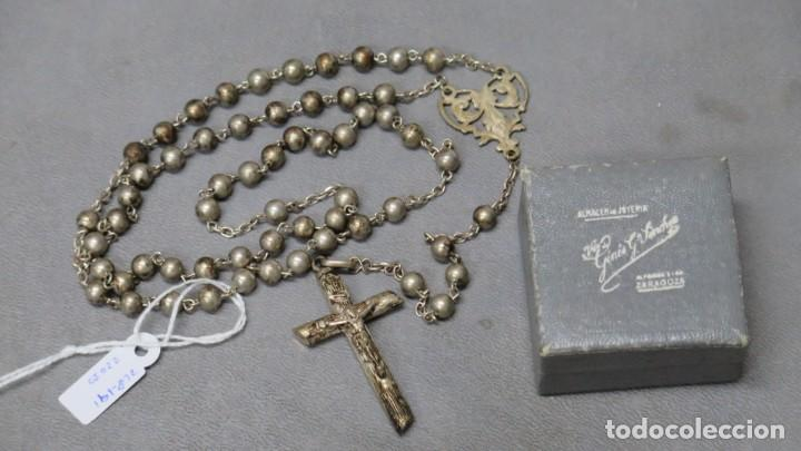 ANTIGUO ROSARIO DE PLATA. ZARAGOZA (Antigüedades - Religiosas - Rosarios Antiguos)