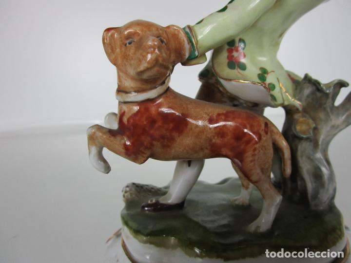Antigüedades: Figura de Porcelana - Cazador con Perro - Sello CH Hispania - Porcelana Manises - Foto 9 - 190895471