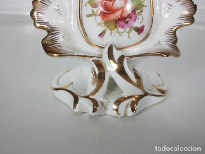Antigüedades: Precioso Jarrón Estilo Isabelino - Porcelana Viejo París, Francia - S. XIX - Foto 2 - 190895843