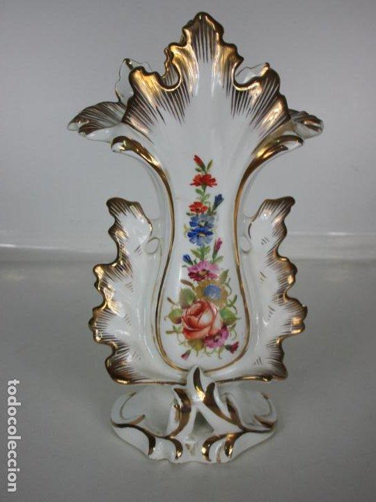 Antigüedades: Precioso Jarrón Estilo Isabelino - Porcelana Viejo París, Francia - S. XIX - Foto 10 - 190895843