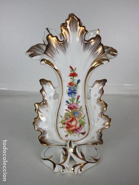 Antigüedades: Precioso Jarrón Estilo Isabelino - Porcelana Viejo París, Francia - S. XIX - Foto 12 - 190895843