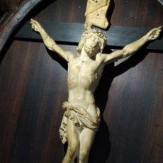 Antigüedades: MAGNIFICO CRISTO EN ESPUMA DE MAR. GRAN FORMATO. FIRMADO ROGEM. PRIMERA MITAD SIGLO XIX.. Lote 190994390