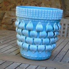 Antigüedades: MACETA MACETERO GRAN TAMAÑO CERAMICA MANISES AZUL IDEAL CONJUNTO LAMPARA . Lote 190995060