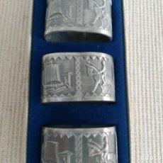 Antigüedades: ANILLOS PARA SERVIR, NORUEGA, ESTAÑO. Lote 191001703