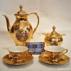 Antigüedades: JUEGO DE CAFÉ PORCELANA FINA Y ORO BAREUTHER WALDSASSEN BAVARIA (ALEMANIA) - ENVÍO GRATIS PENÍNSULA. Lote 191009172