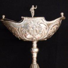 Antigüedades: NAVETA DEL SIGLO XVIII ELABORADA EN COBRE PLATEADO. MEDIDAS: 21 X 18 CM.. Lote 191009978