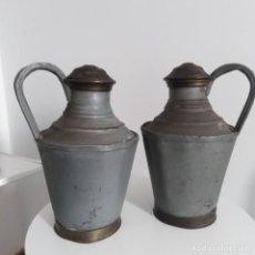 Antigüedades: ANTIGUOS CÁNTAROS DE METAL DE LECHE DEL SIGLO XIX. Lote 191019366