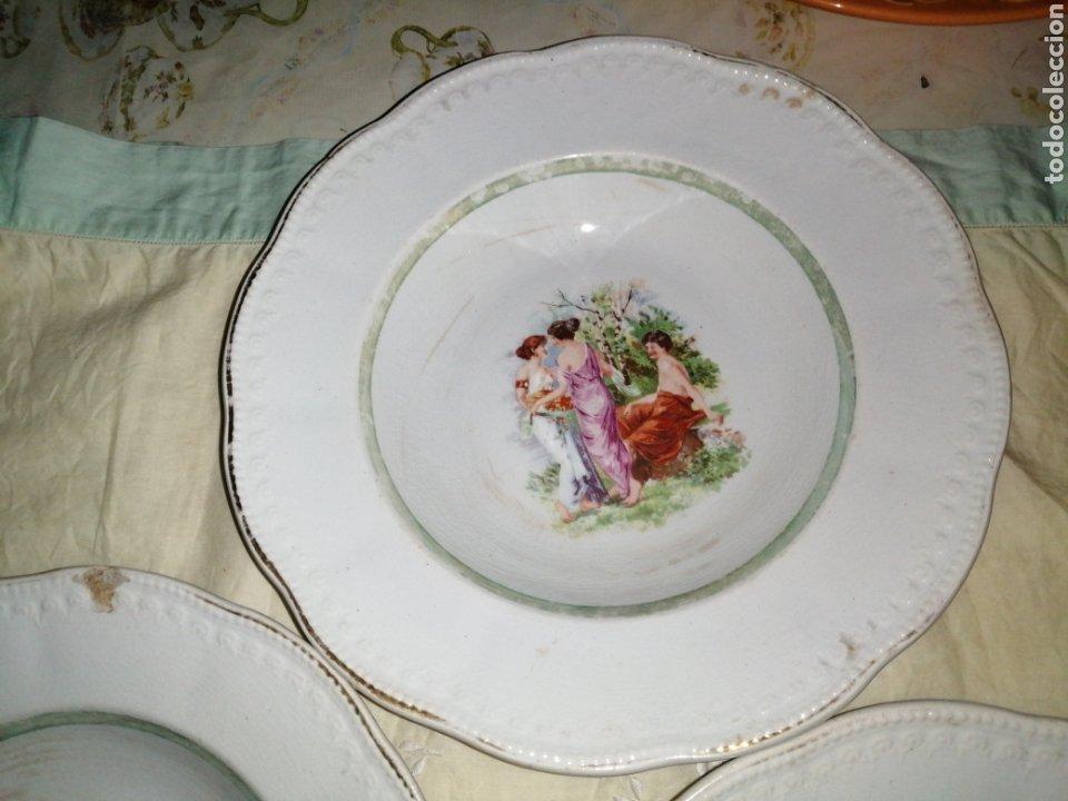 Antigüedades: 3 platos hondos de porcelana Opaca Sevilla - Foto 3 - 191019595