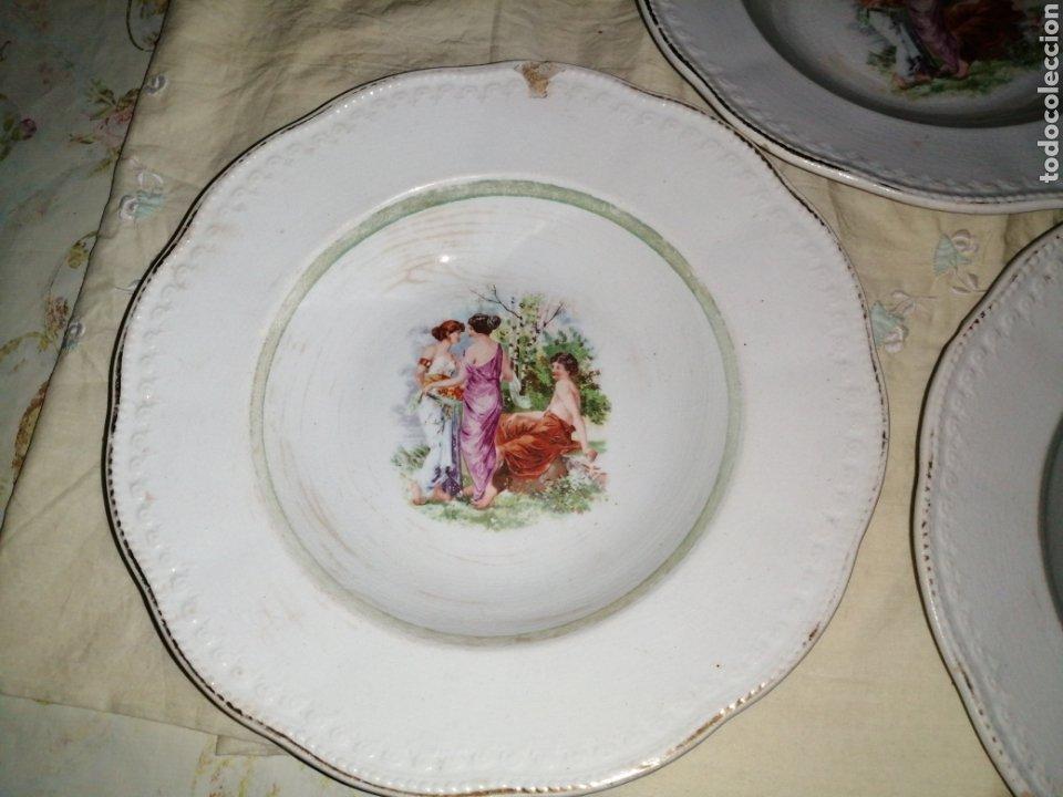 Antigüedades: 3 platos hondos de porcelana Opaca Sevilla - Foto 4 - 191019595