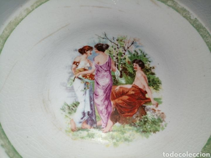 Antigüedades: 3 platos hondos de porcelana Opaca Sevilla - Foto 5 - 191019595