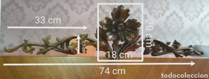 Antigüedades: Precioso Remate copete Talla madera medianos o finales S XIX Para cama o armario 75 cm x 20 cm. - Foto 2 - 191031106