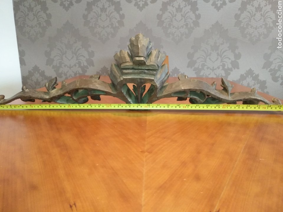 Antigüedades: Precioso Remate copete Talla madera medianos o finales S XIX Para cama o armario 75 cm x 20 cm. - Foto 19 - 191031106