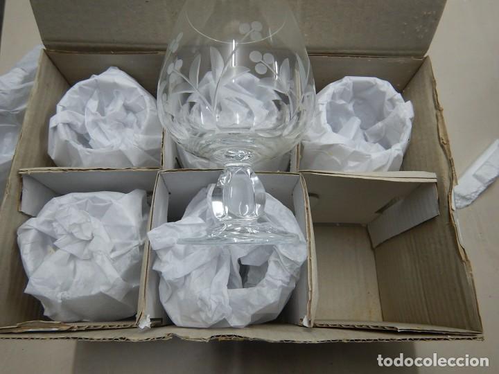 Antigüedades: Juego de 6 copas schott cristal - Foto 5 - 191058335