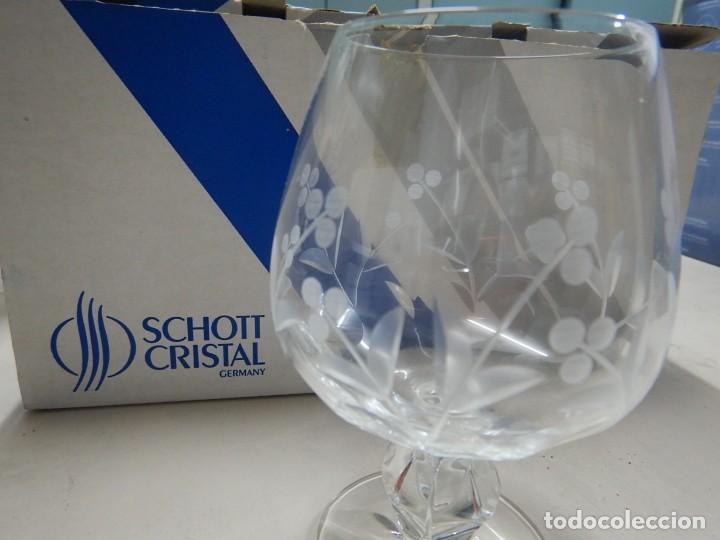 Antigüedades: Juego de 6 copas schott cristal - Foto 3 - 191058335