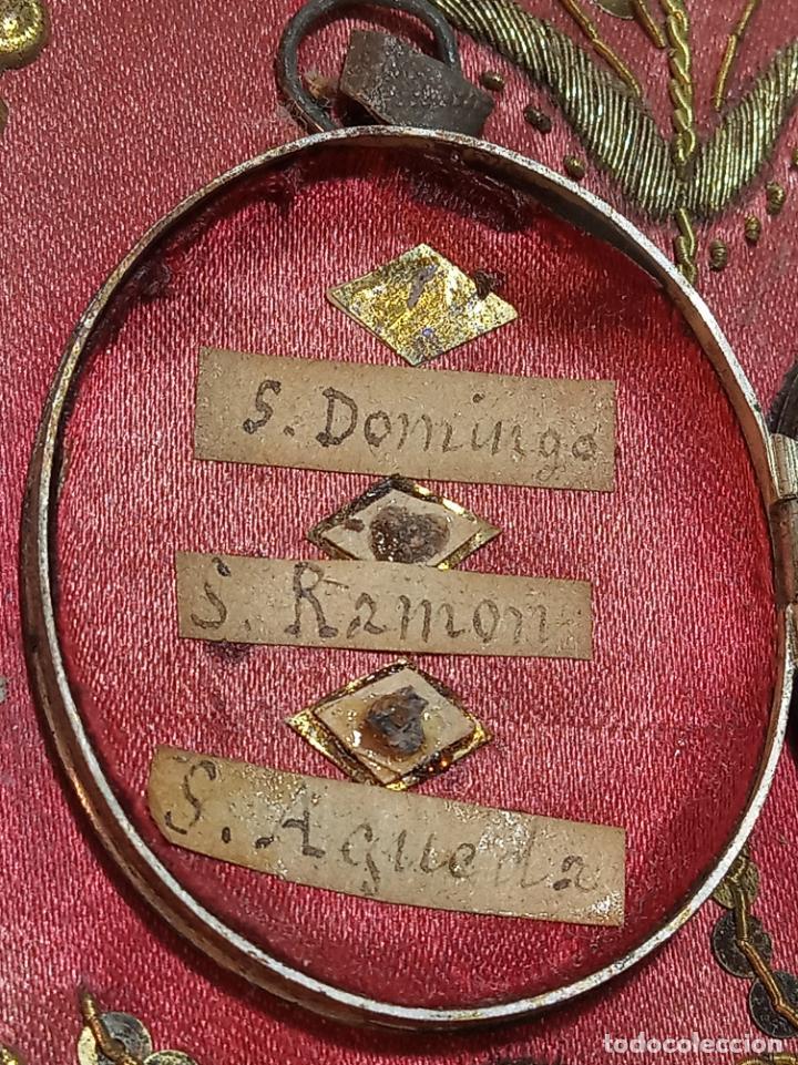Antigüedades: Relicario del siglo XVII. S. Águeda, S. Domingo, S. Ig. de Loyola, S. Fco. Javier., S. Ramón...Plata - Foto 4 - 191147415