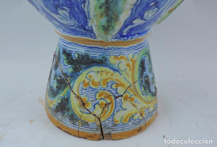 Antigüedades: Jarrón tipo ánfora de cerámica Talavera, Niveiro, Gran Tamaño mide 51 x 37 cms. Dedicado por - Foto 11 - 191151080