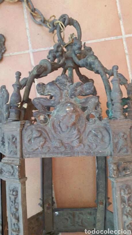 Antigüedades: IMPRESIONANTE ANTIGUA LÁMPARA FAROL BRONCE. - Foto 3 - 191181100