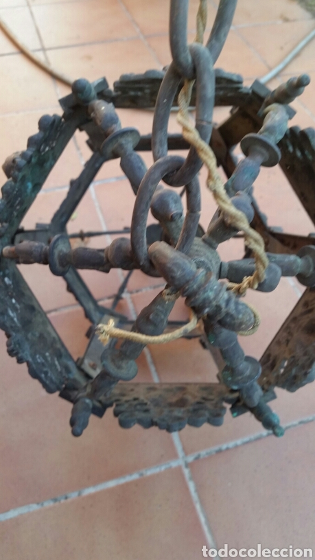 Antigüedades: IMPRESIONANTE ANTIGUA LÁMPARA FAROL BRONCE. - Foto 6 - 191181100