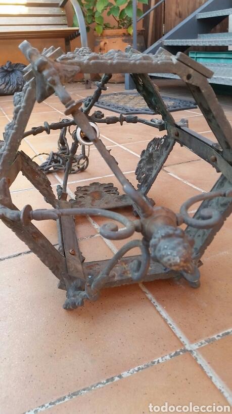 Antigüedades: IMPRESIONANTE ANTIGUA LÁMPARA FAROL BRONCE. - Foto 7 - 191181100