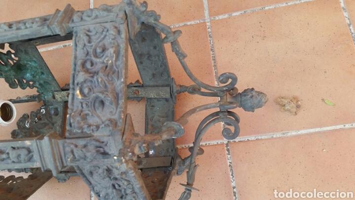 Antigüedades: IMPRESIONANTE ANTIGUA LÁMPARA FAROL BRONCE. - Foto 8 - 191181100