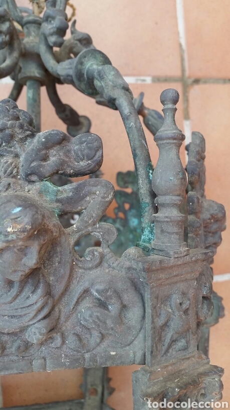 Antigüedades: IMPRESIONANTE ANTIGUA LÁMPARA FAROL BRONCE. - Foto 10 - 191181100