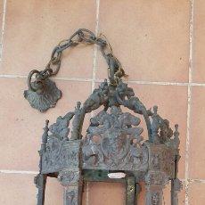 Antigüedades: IMPRESIONANTE ANTIGUA LÁMPARA FAROL BRONCE.. Lote 191181100