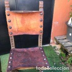 Antigüedades: SILLA ANTIGUA CON ASIENTOS DE CUERO. Lote 191216632