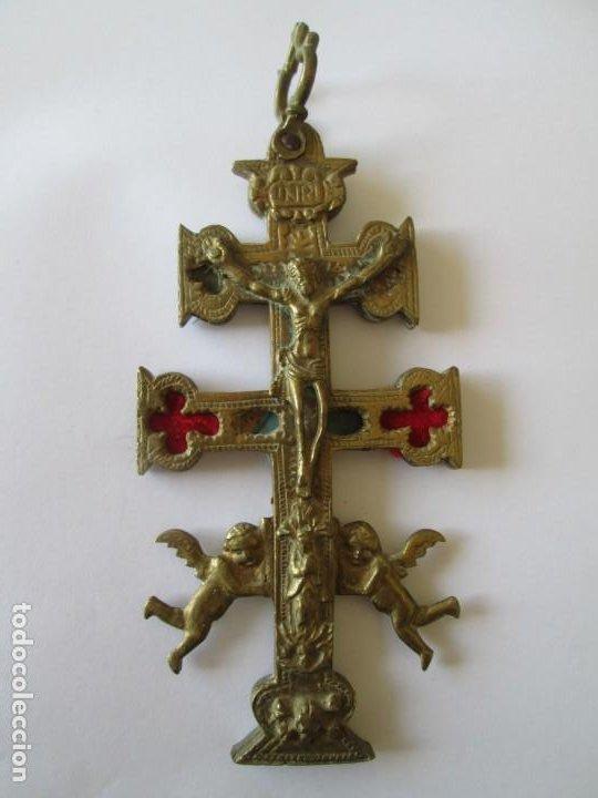 CRUZ DE CARAVACA SIGLO XIX * COBRE (Antigüedades - Religiosas - Cruces Antiguas)